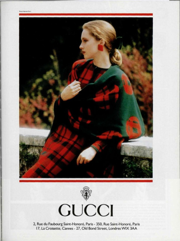 1988 Fall Winter print ad showing both Paris and London addresses - Vintage Gucci advertising campaigns archive