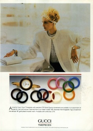 1988 Gucci ad for timepieces with interchangeable bezels - Vintage Gucci advertising campaigns archive