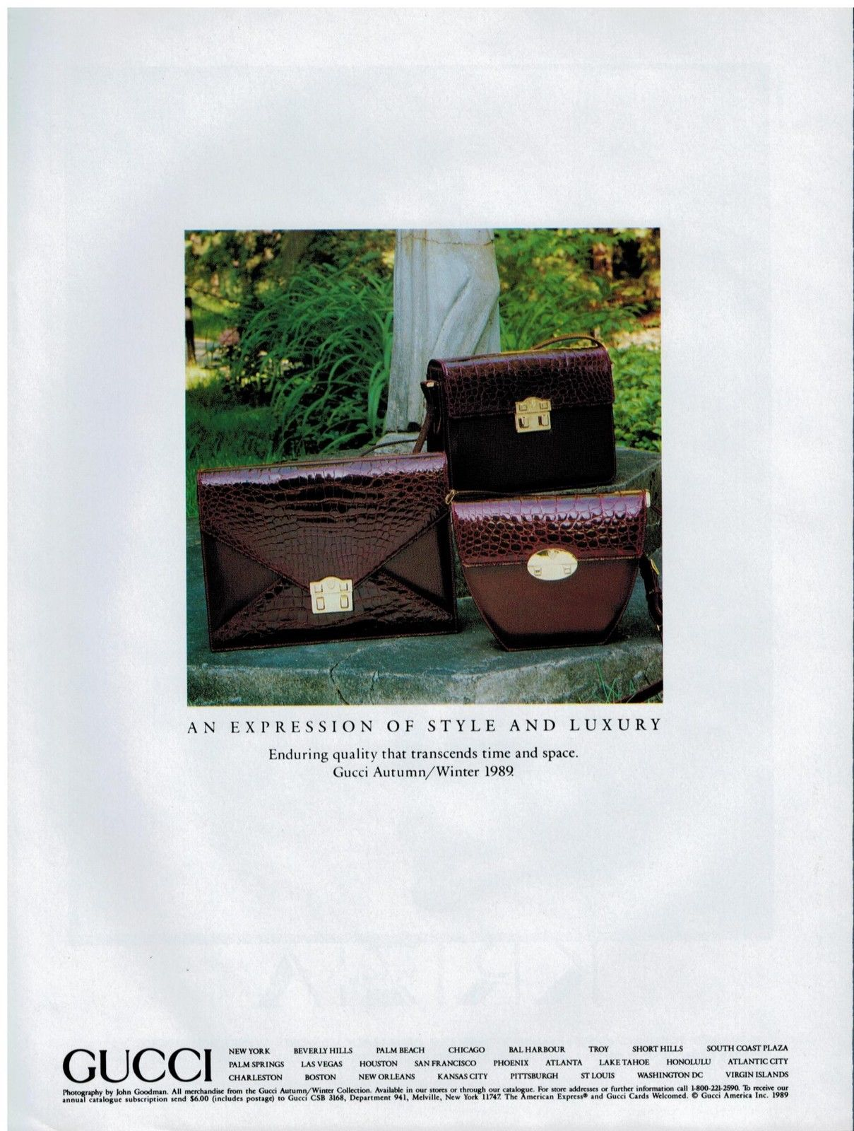 1989 Gucci Fall Winter exotic leather bags print ad - Vintage Gucci advertising campaigns archive