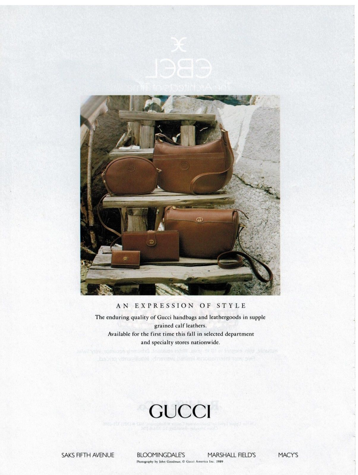 1989 Gucci Fall Winter grained calf leather bag print ad - Vintage Gucci advertising campaigns archive