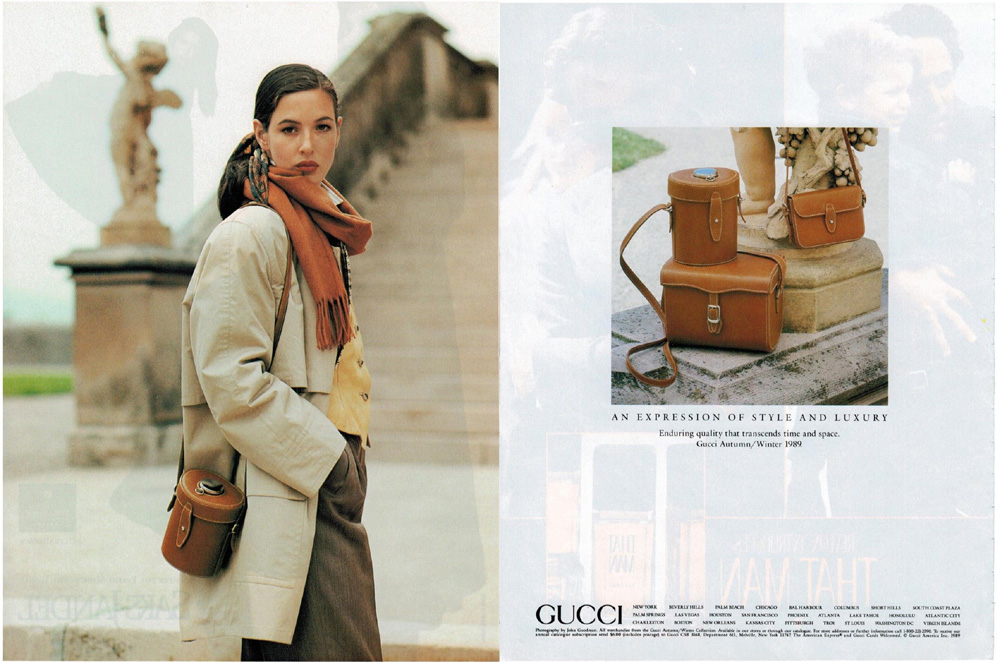 1989 Gucci Fall Winter print ad showing a set of bags in smooth calfskin - Vintage Gucci advertising campaigns archive