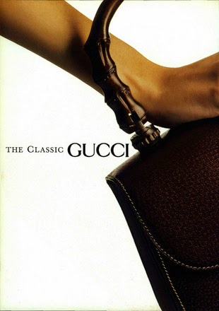 1990 Gucci Bamboo Top Handle bag in pigskin leather - Vintage Gucci advertising campaigns archive