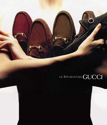 1990 Gucci shoe print advertisement - Vintage Gucci advertising campaigns archive