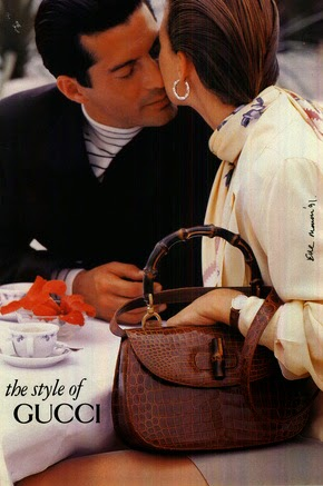 1991 Gucci Bamboo Top Handle bag in exotic skin - Vintage Gucci advertising campaigns archive