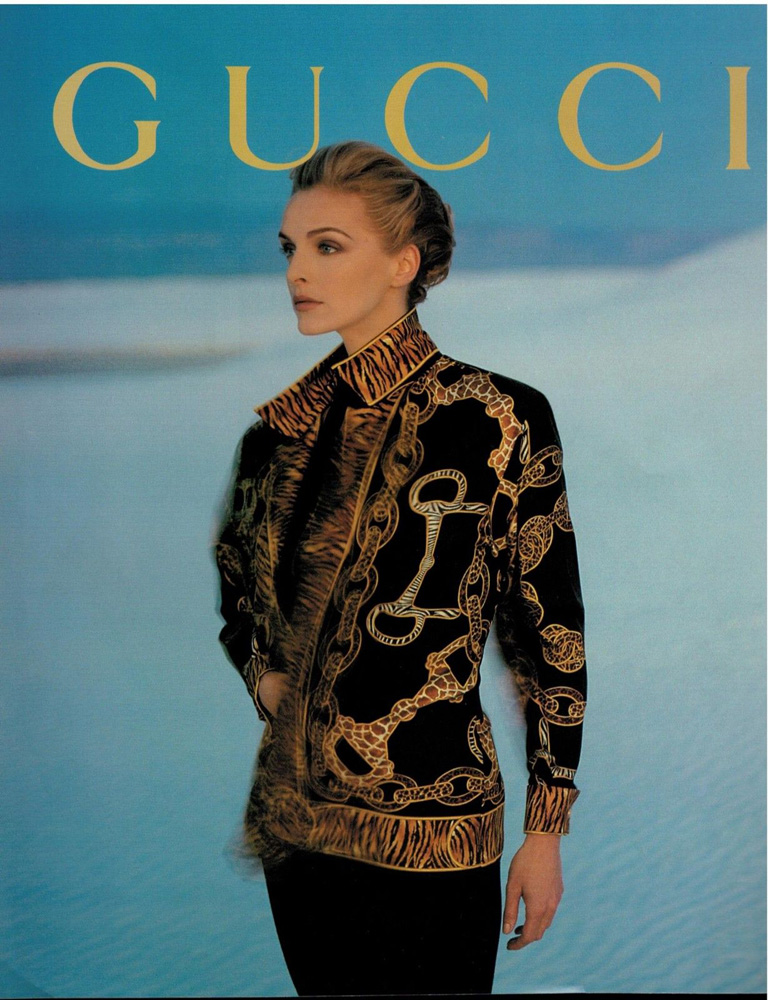 1992 Gucci RTW print advertisement showing a horsebit and tiger print top - Vintage Gucci advertising campaigns archive