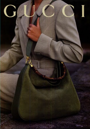 1994 Gucci print ad bamboo handle hobo in calf leather and suede - Vintage Gucci advertising campaigns archive