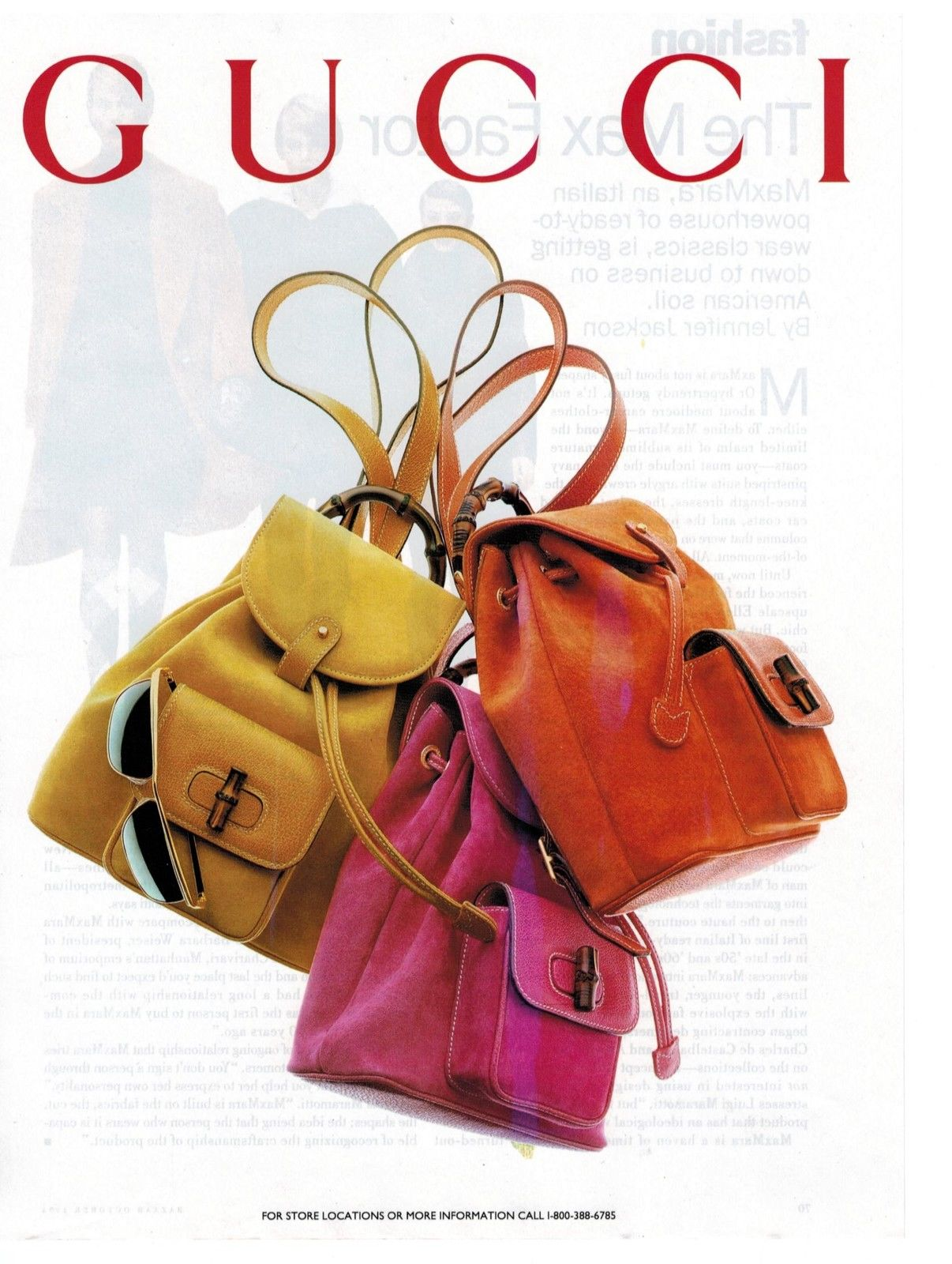 1994 Gucci suede bamboo backpacks in different colors print ad - Vintage Gucci advertising campaigns archive